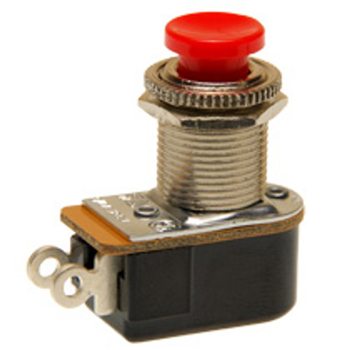push button switch, momentary off, on, solder terminals, red button, Carling, P27L-RD,1157-C,78-8731-,80541-R,NSN#5930002933412