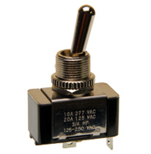 single pole on-off toggle switch, solder terminals, 20 amps, 7802k11