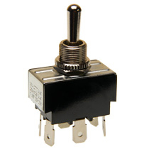 Double pole toggle switch, on-off-on, quick connect terminals, 7803k22