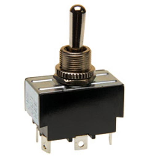 Double pole toggle switch, on-off-on, solder terminals, 7803k12