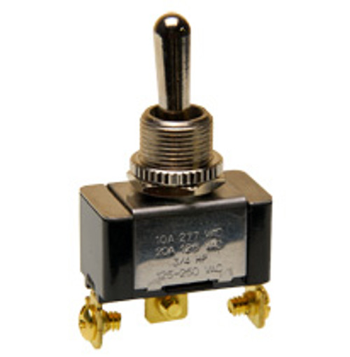 Single Pole momentary toggle switch, two momentary positions, spring return to center, 7802k37