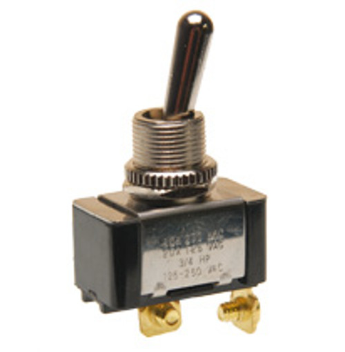 toggle switch, single pole, momentary on, spring return to off position, screw terminals
