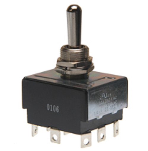toggle switch, 3 pole, on off on, solder terminals, 3pdt, maintained, triple pole, double throw, R13-432