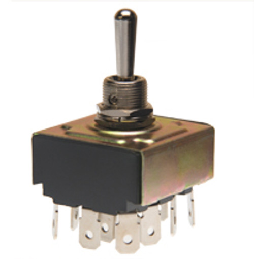 toggle switch, 4 pole, on off on, quick connect terminals, 4pdt,