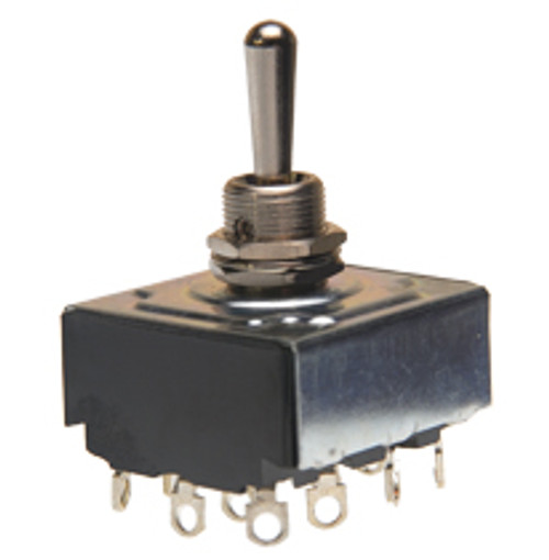 toggle switch, 4 pole, on off on, solder terminals