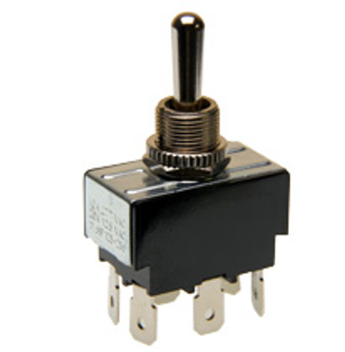 toggle switch, double pole, on - off - momentary on, quick connect terminals, 1244-q/20, 0121-0015, 07-1918, 56026610, 6gm5b-73, 7300103, 7568k4, 95005, ts-1244-q