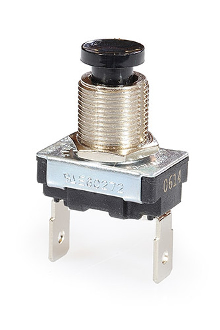 single pole push button, off - momentary on, black horn button, quick connect terminals