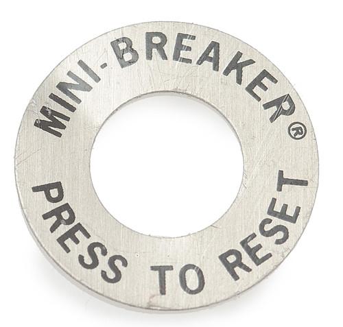 Push to reset plate for circuit breaker, 3/8 bushing, circuit breaker hardware, 275