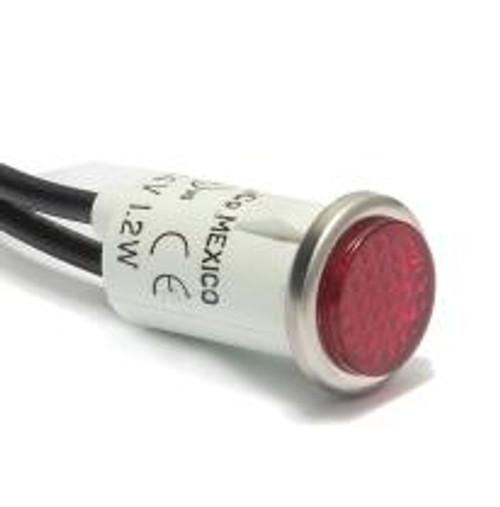 indicator light, 14 volt incandescent, wire leads, red cylinder diamond lens, 2935-1-11-37310, 00001296, 07-0982, 15100, 31316, 5SF3LRB4, 1-14V-R, MS2935