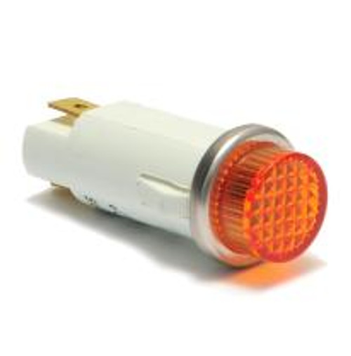 indicator light, 14 volt incandescent, quick connects, amber cylinder diamond lens, 3035-4-11-37320, 093-0222