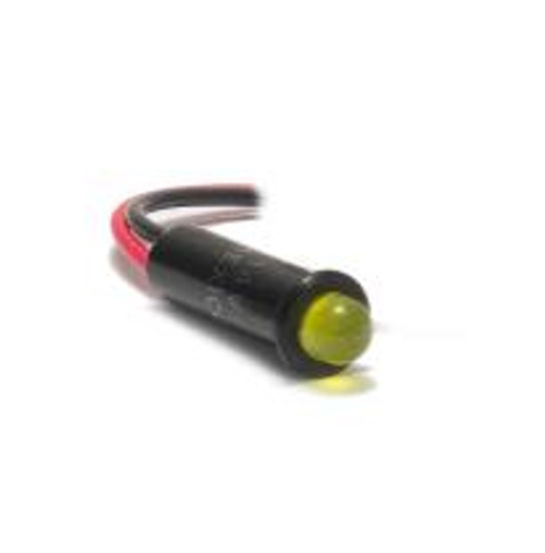 5mm indicator light 14 volt LED, wire leads, yellow diffused bulb, 4512-1-20-01080
