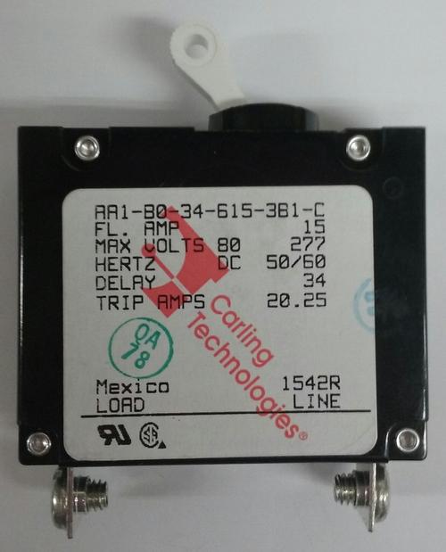 AA1-B0-34-615-3B1-C   Carling Technologies Circuit breaker, 15 amp, A Series, single pole, magnetic,042-3002