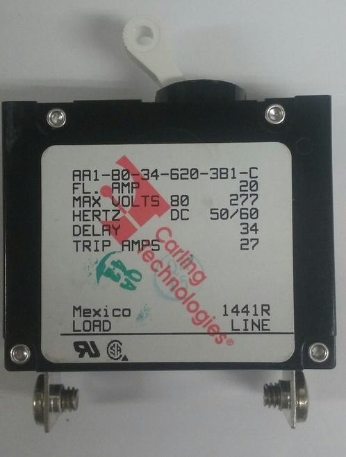 AA1-B0-34-620-3B1-C  Carling Technologies Circuit breaker, 20 amp, A Series, single pole, magnetic,042-3004