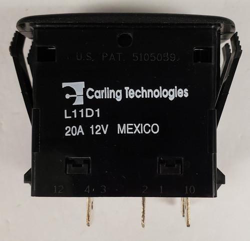 Carling, on off, spst, L series, L11D1A601, Incandescent lamp, spade terminals