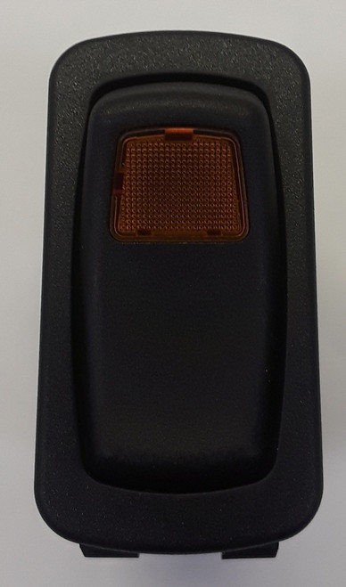 L12D1A601-ABZ00-000 Carling Momentary On-Off Illuminated L series Rocker Switch, Amber Lens