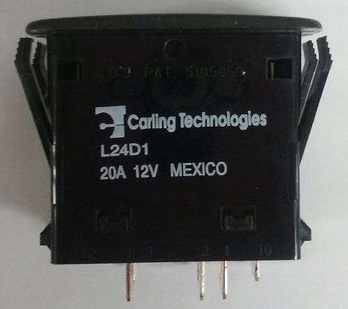 L24D1DN01-00000-000, Carling, L Series, rocker switch, on on, double pole, dependent lamp, amber LED, raised bracket