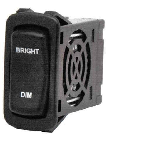 """L Series Rocker Electronic Dimmer Switch, Black with (2) 12 volt Red LEDs, """"Bright-Dim"""" laser etched on Actuator, Carling LD3A1CC1-3AAFE-1FC,00001604,00001748,0322-GG3-022,037503,0392-GG3-022,10211489,16-92,308J-0003,3974562,SW2-22,Z6449073"""