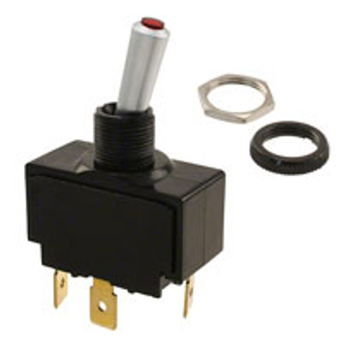 Carling Lit Tip Toggle LT-1531-601-012, Red, momentary, 12 volt lamp, .250 quick connects, lt series, illuminated toggle switch, 251225