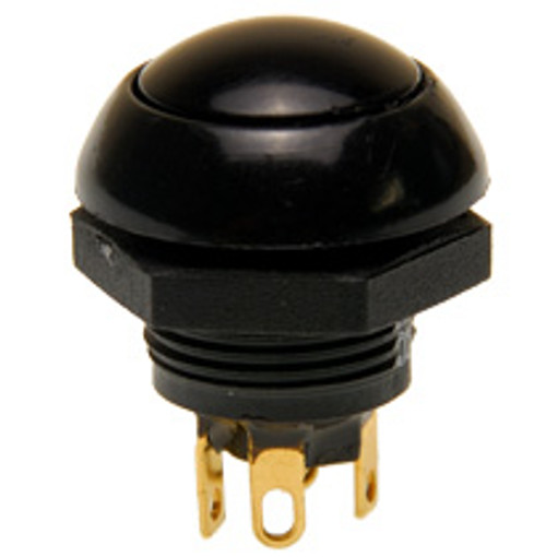 P9-113122 Otto Flush Push Button Switch, Momentary, Two Circuit, black Button, normally open and normally closed, no, nc, spring loaded push button switch