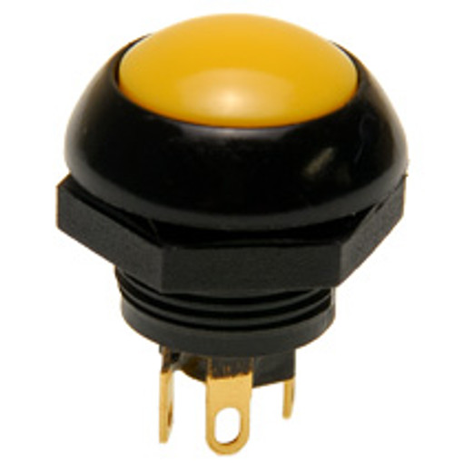 P9-113124 Otto Flush Push Button Switch, Momentary, Two Circuit, yellow Button, normally open and normally closed, no, nc, spring loaded push button switch