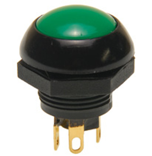 P9-113125 Otto Flush Push Button Switch, Momentary, Two Circuit, green Button, normally open and normally closed, no, nc, spring loaded push button switch