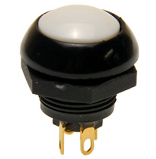 P9-113129 Otto Flush Push Button Switch, Momentary, Two Circuit, white Button, normally open and normally closed, no, nc, spring loaded push button switch