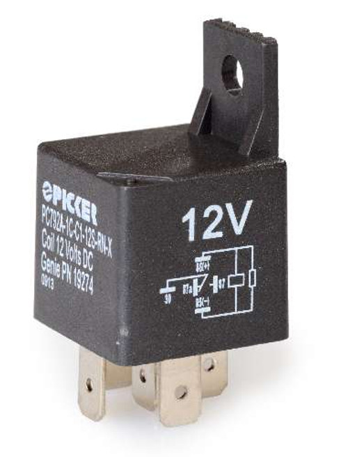 Automotive relay, 40 Amp @ 14VDC, plastic case, Resistor, Bracket, quick connect terminals