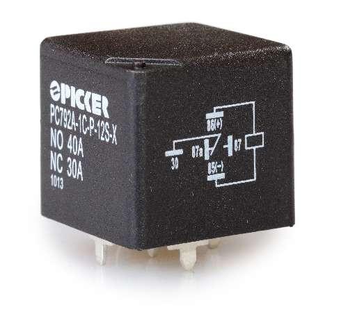 Automotive Relay, 40 Amp @ 14VDC, PC terminals, PC792A-1C-P-12S-X, Picker