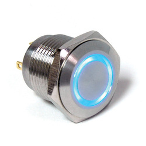 E Switch Anti Vandal 16 mm push button, single pole, momentary, blue ring, solder, stainless steel finish, normally open, blue ring illumination, anti vandal switch, PV6F240SS-341