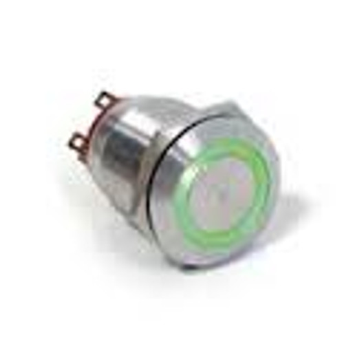 E switch Anti Vandal 25 mm push button, illuminated green ring push button, single pole, vandal resistant, 2 circuit, normally open and normally closed, 24 volt green ring, anti vandal switch, stainless steel, PV8F21SS-335