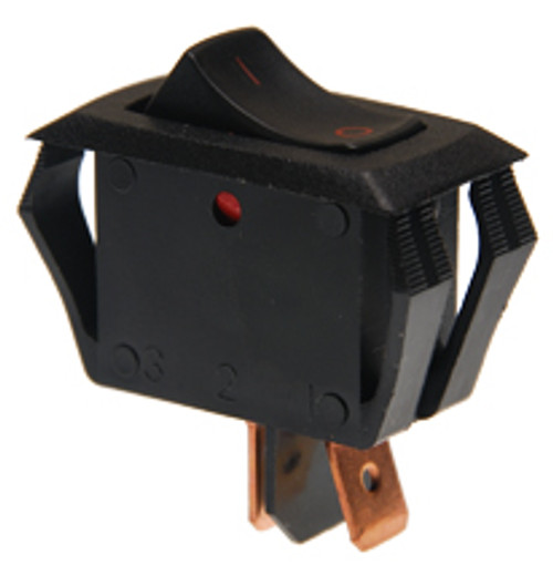 Carling appliance style rocker switch, single pole, on off, maintained, I-O legend, black and red, RA901-VB-B-9-V,033-7002,11-3574,411249,578005000,798493,911563,b1408,ie-1057,s000001