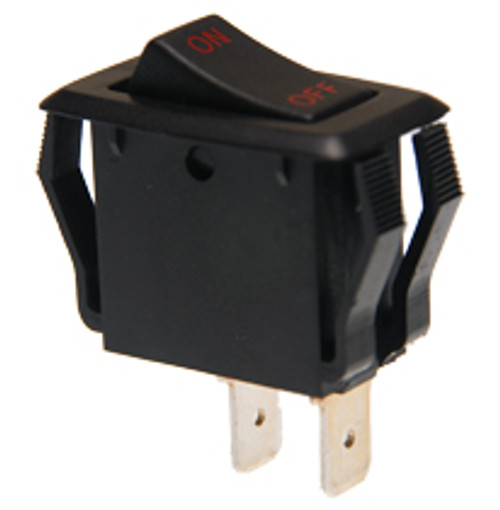 appliance style rocker switch, single pole, on off, maintained, On-Off legend, black and red,00014817,7400015,b1-18-u-283r
