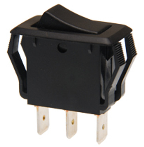 appliance size rocker switch, single pole, on on, maintained, quick connects, black,