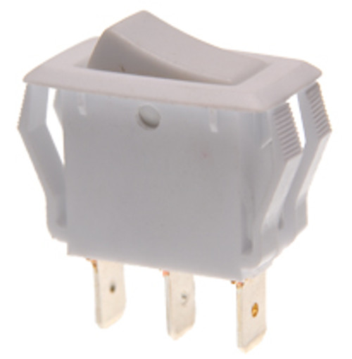 appliance size rocker switch, single pole, on on, maintained, quick connects, white