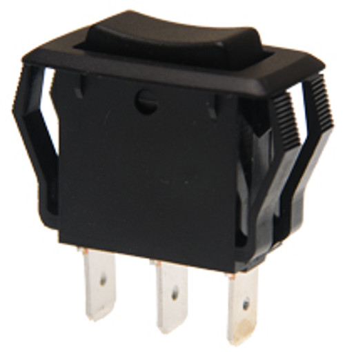 appliance size rocker switch, single pole, on off on, maintained, quick connects, black