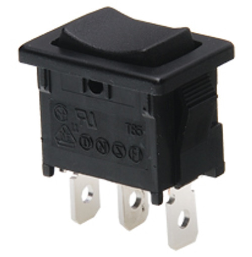 miniature rocker switch, single pole, on off on, maintained, quick connects,62261,7500006,