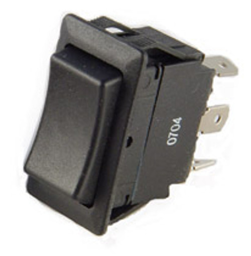 rocker switch, momentary, single pole, double throw, quick connect terminals, spring return to center