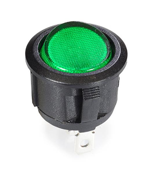 round rocker, on off, fully illuminated, green lit rocker, single pole,32019408,6210,7500038,tsrr-grn