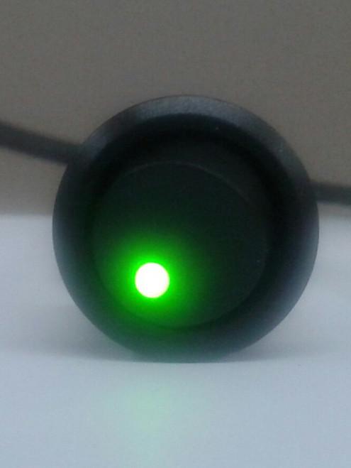 Single pole On-Off Black round Rocker, Green Dot LED, 187 tabs,6210,7520015,TSRR-LED-GRN