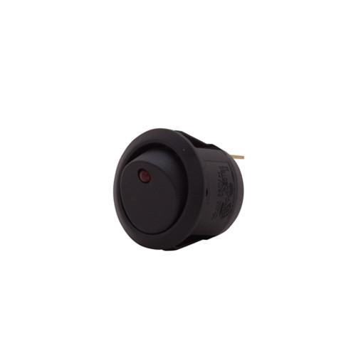 round rocker switch, on off, red dot led, illuminated, single pole