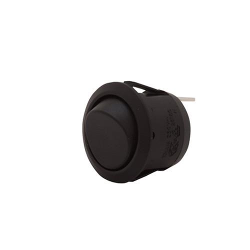 SPDT On-Off-On Black Rocker, 187 tabs, round rocker switch, quick connects,7500022