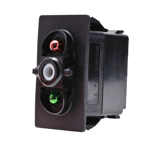 V1D1JHCB, switch, marine, auto, rocker, on-off, single pole, sealed, Carling, V Series, two lamps, lit switch,  RCV-00107587, one green lamp & one red lamp
