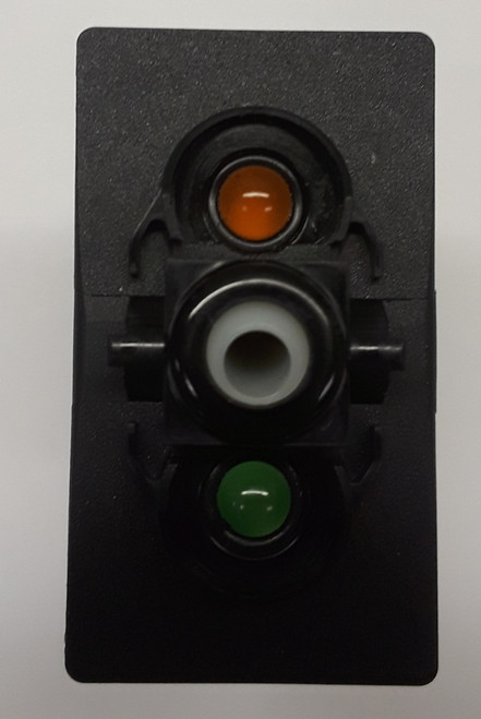 VBD2YNHB, Carling V Series rocker switch, momentary, double pole, 2 independent lamps, 1 amber LED & 1 super bright green LED,113518