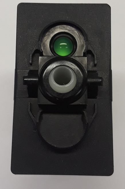 Carling V Series rocker switch single pole,  Circuit 1 & 2 ON, Circuit 1 ON-OFF,  1 ind. super bright green LED lamp, VGD11H0B