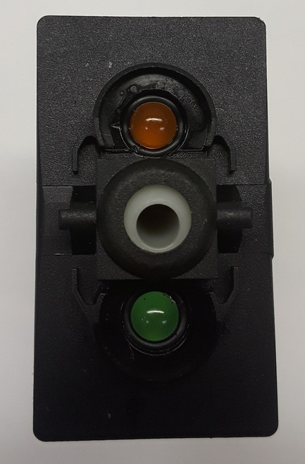 Carling V Series rocker switch single pole,  Circuit 1 & 2 ON, Circuit 1 ON-OFF,  1 Ind Amber & 1 Ind Super Bright Green LED lamps, VGD2YNHB