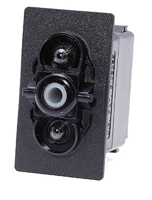 Carling V series rocker switch, double pole, on -off- on maintained, 1 Dep lamp & 1 Ind lamp, Jumper T2-T5, VJDJG66B,033-0253