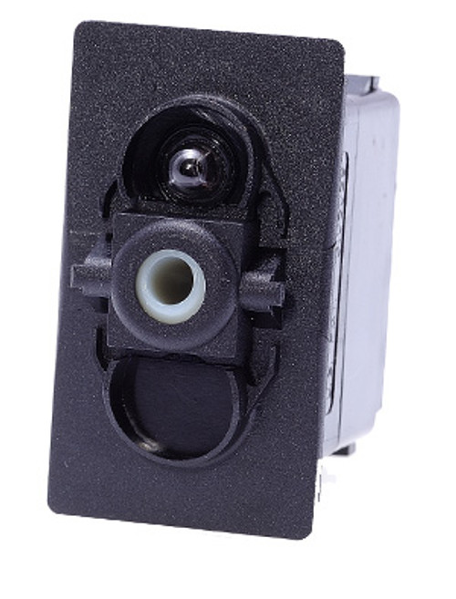 Carling rocker switch, double pole, double momentary, spring return to off position, V Series, 1 ind lamp, VLD1160B, 12517, 00017164