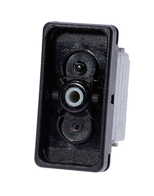 Carling rocker switch, double pole, double momentary, spring return to off position, V Series, no lamps, raised bracket, VLD1S001