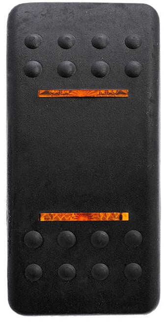 switch cap, soft black, 2 amber bar lens, VVACB00-000, carling, actuator, rocker switch cap