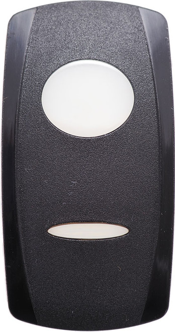 Carling V Series rocker switch actuator, black with two white lenses, vvg9c00-000